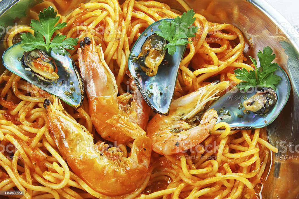Boiled shrimp with noodles stock photo