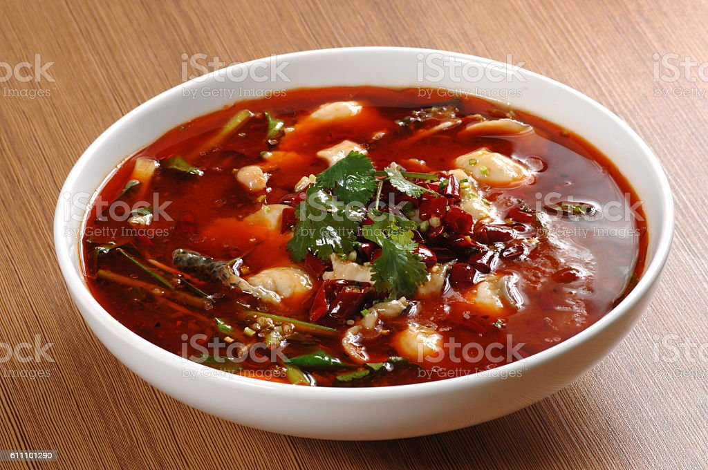 Boiled Sliced Fish in Hot Chili Oil (水煮鱼) stock photo