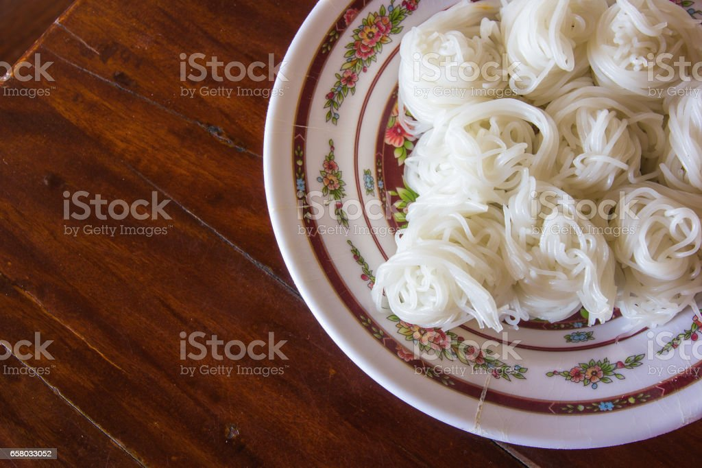 Boiled Thai rice vermicelli, usually eaten with curries / Thai Food stock photo