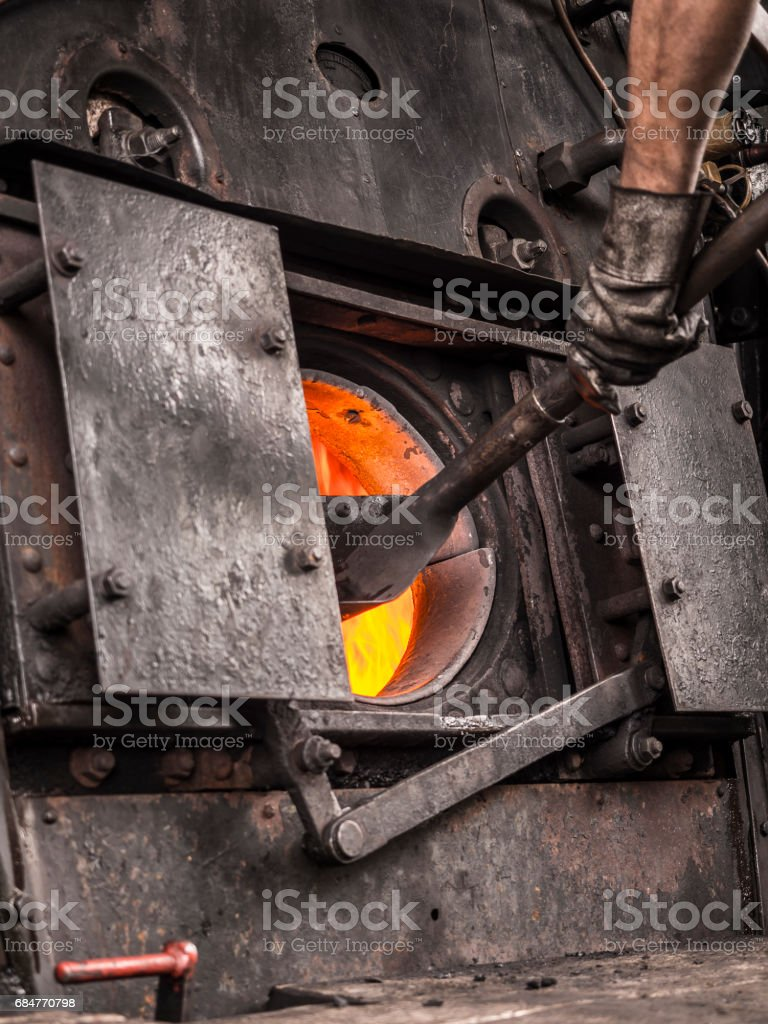 Boiler of an old steam train stock photo