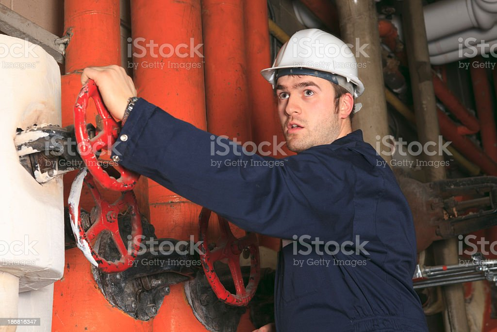 Boiler Room - Action Worker royalty-free stock photo