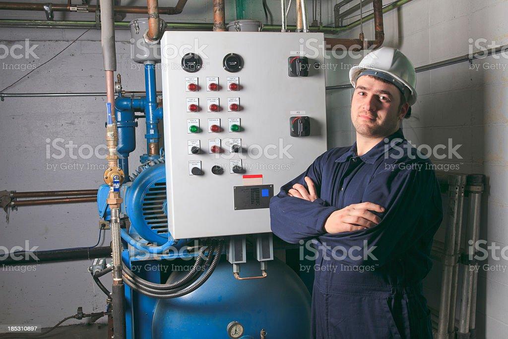 Boiler Room - Air Medical Worker Arm Cross royalty-free stock photo