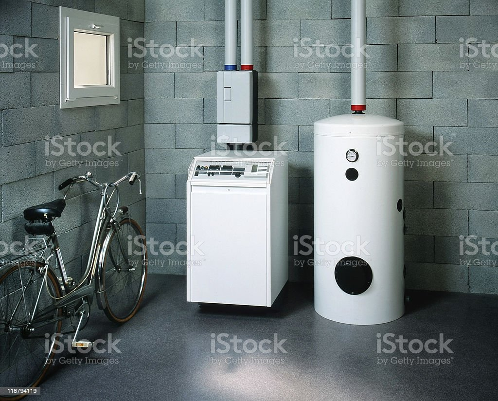 boiler room and bicycle stock photo
