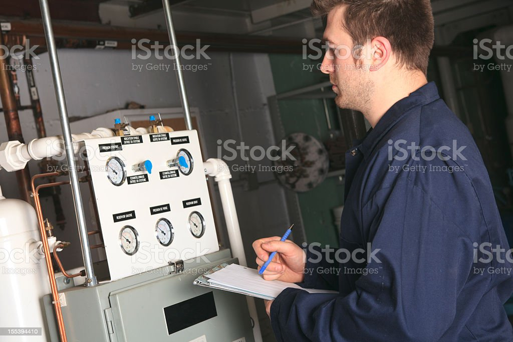 Boiler Room - Checking System royalty-free stock photo