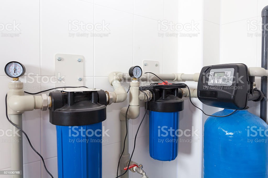 Boiler room in a new house stock photo