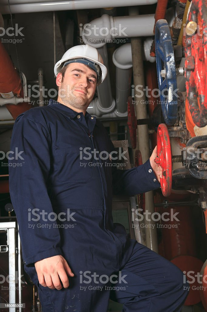 Boiler Room - Valve Worker royalty-free stock photo