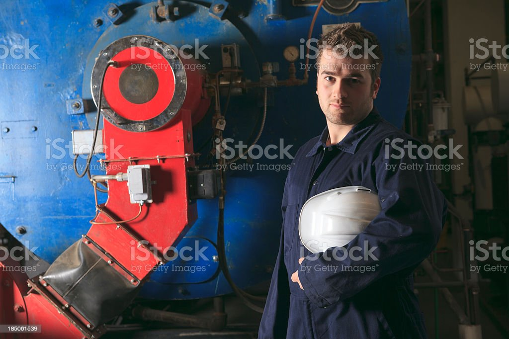 Boiler Room - Worker stock photo