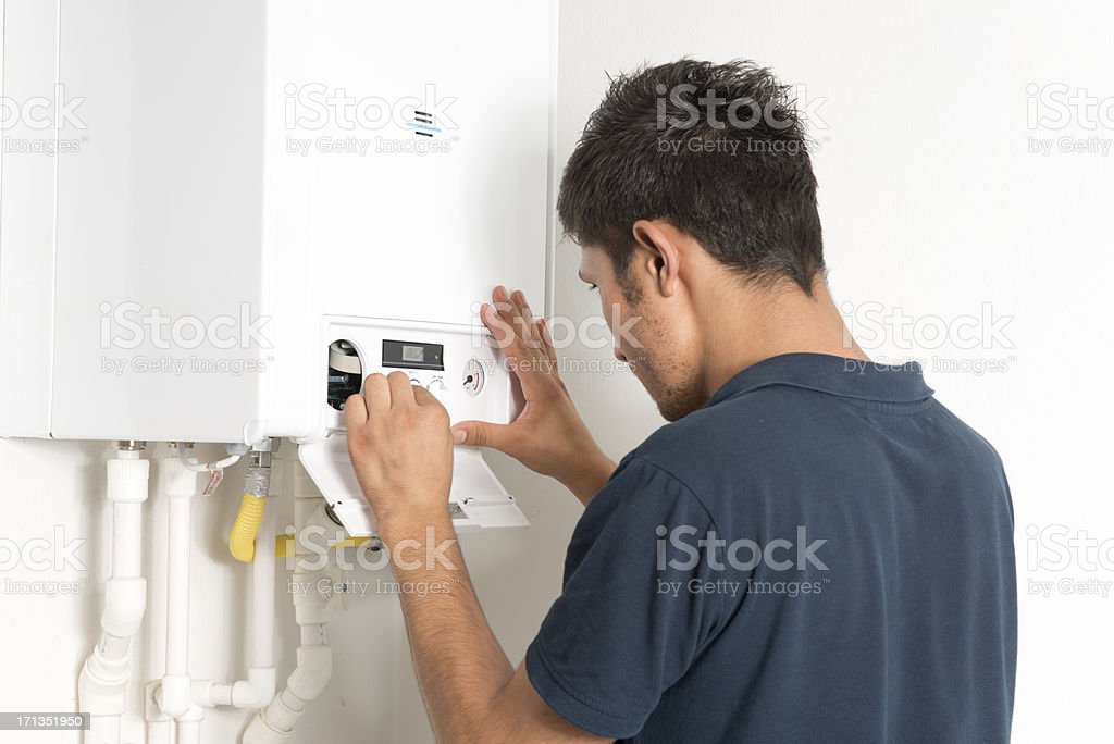 boiler technician stock photo