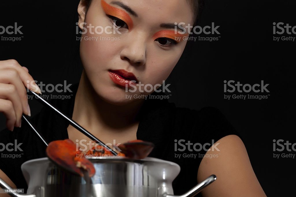 Boiling a lobster stock photo