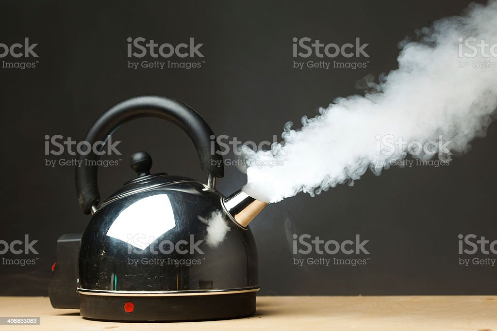 boiling kettle stock photo