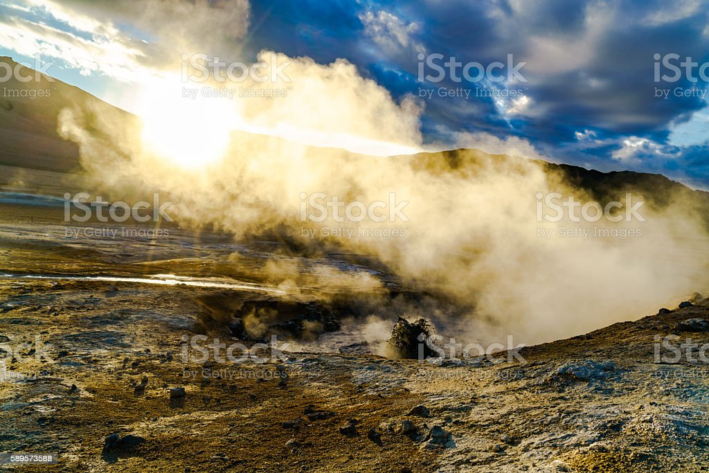 Boiling mud at Hverir geothermal area stock photo