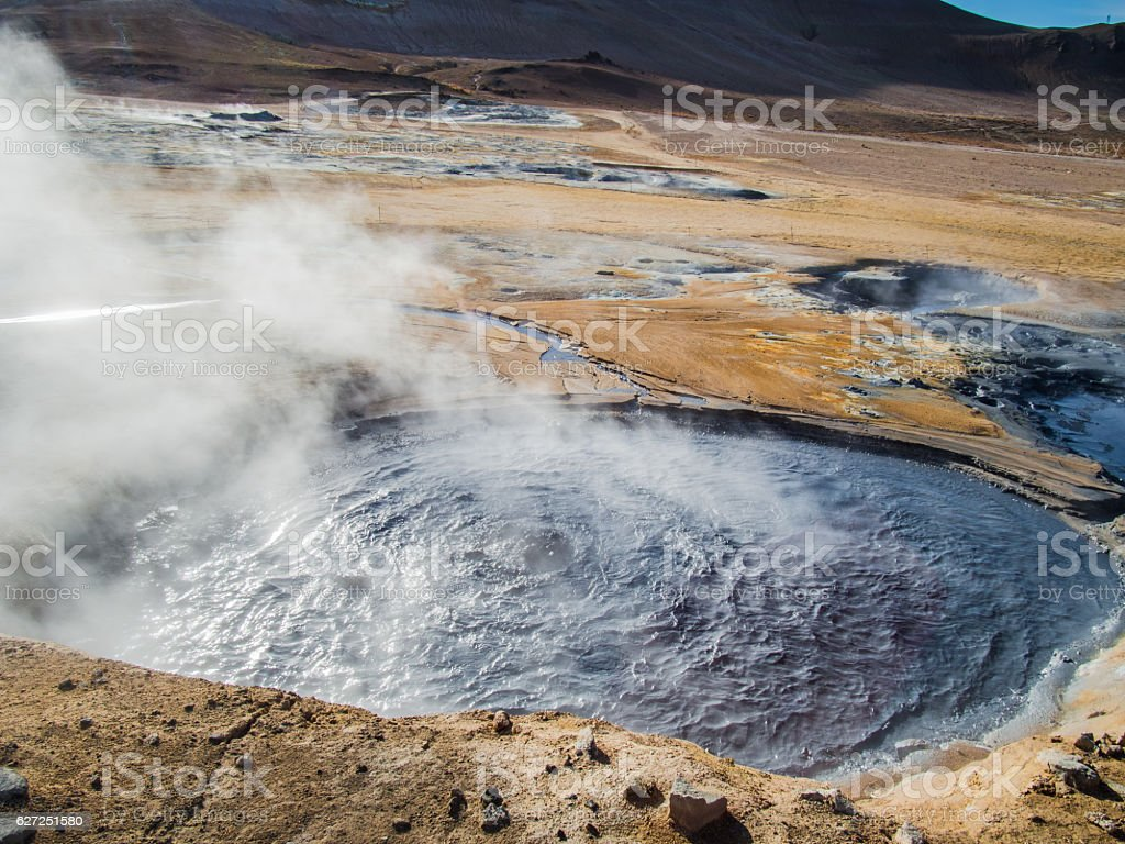 Boiling mud - Geothermal area at Hverir, Iceland. stock photo