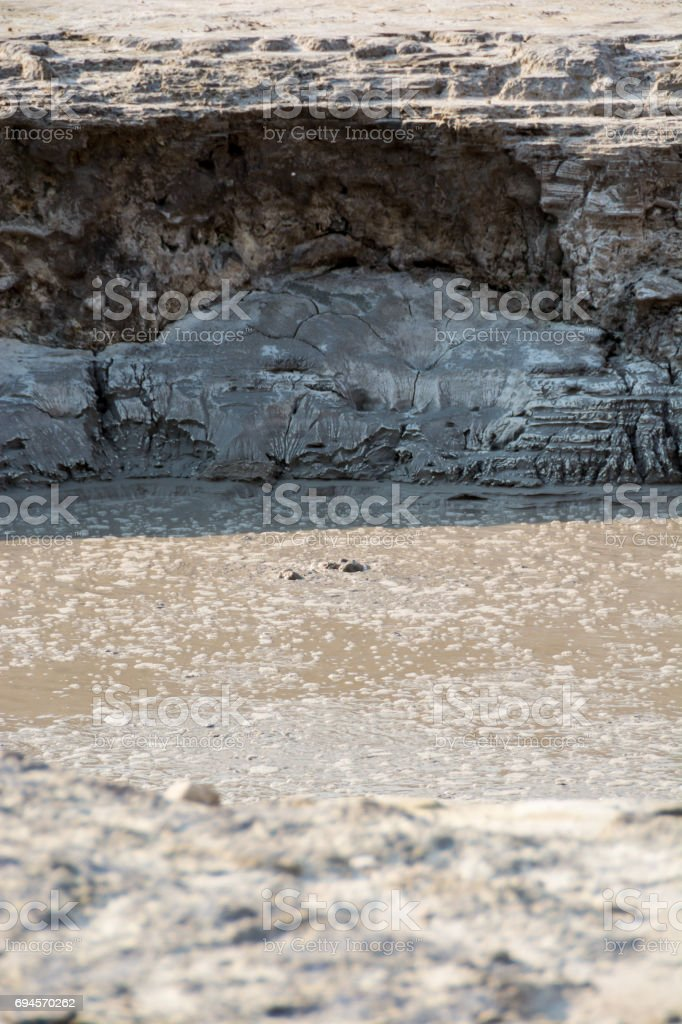 Boiling mud in Solfatara crater, Italy stock photo