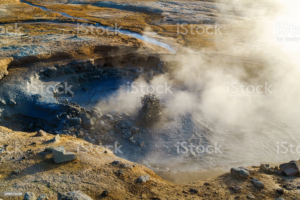 Boiling mud in the mudpot at Hverir geothermal area stock photo