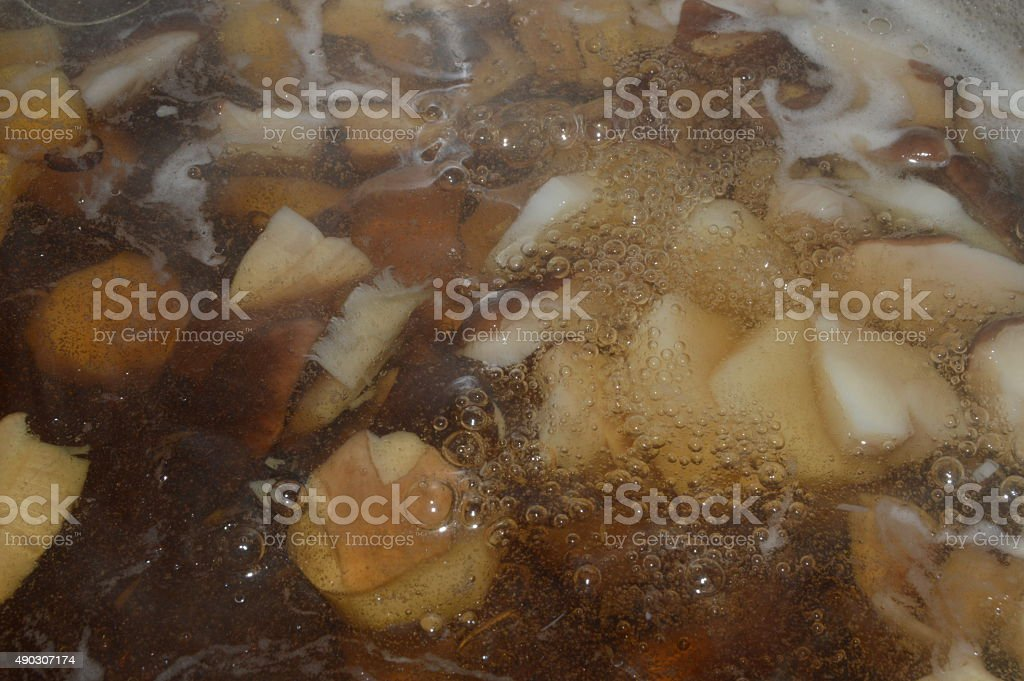 Boiling Mushrooms royalty-free stock photo