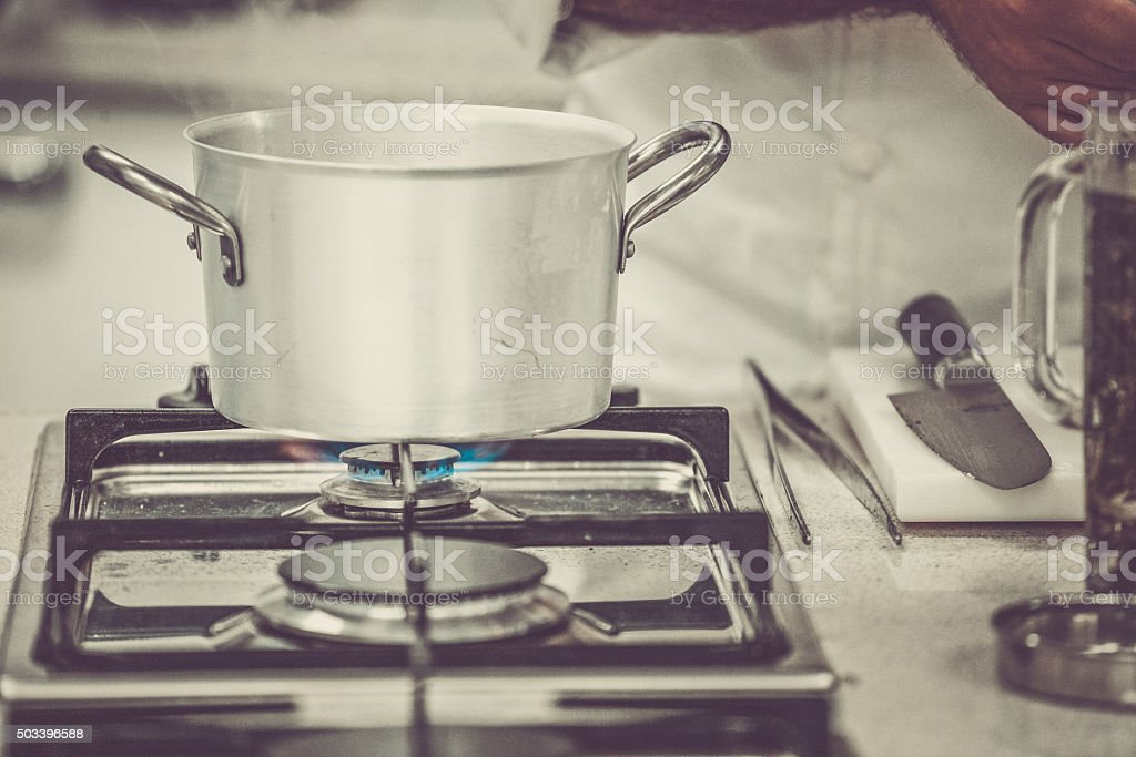 Boiling Pot in Professional Kitchen stock photo
