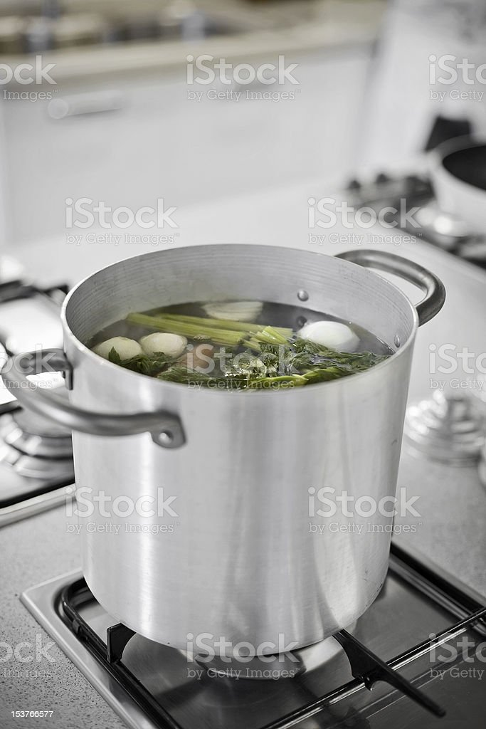 Boiling Pot with Vegetables royalty-free stock photo