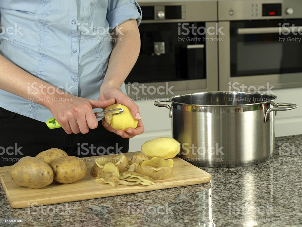 Boiling potatoes royalty-free stock photo