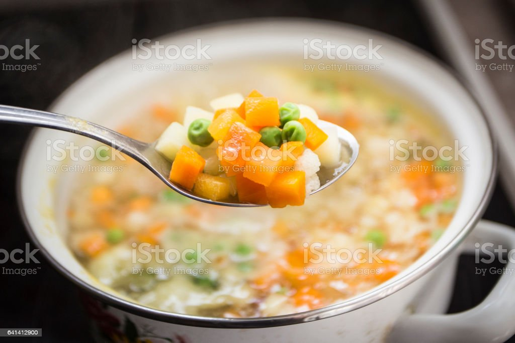 Boiling vegetables stock photo
