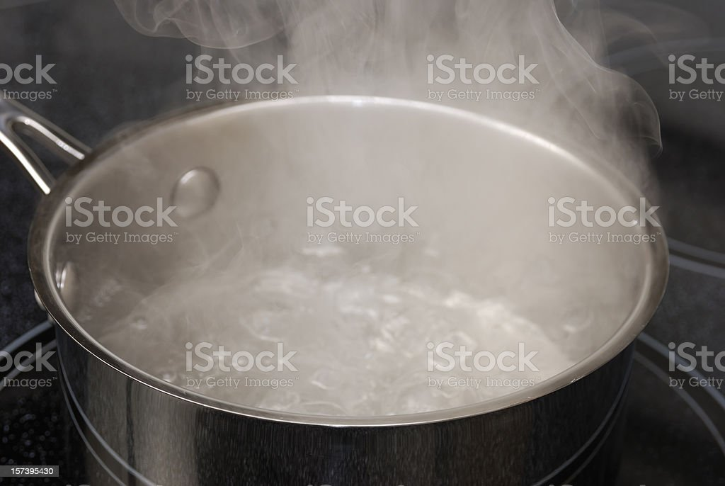 Boiling Water in a Stainless Steel Pot. stock photo