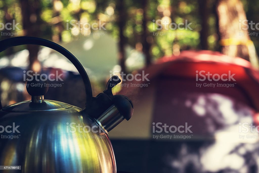 Boiling Water on a Campsite stock photo