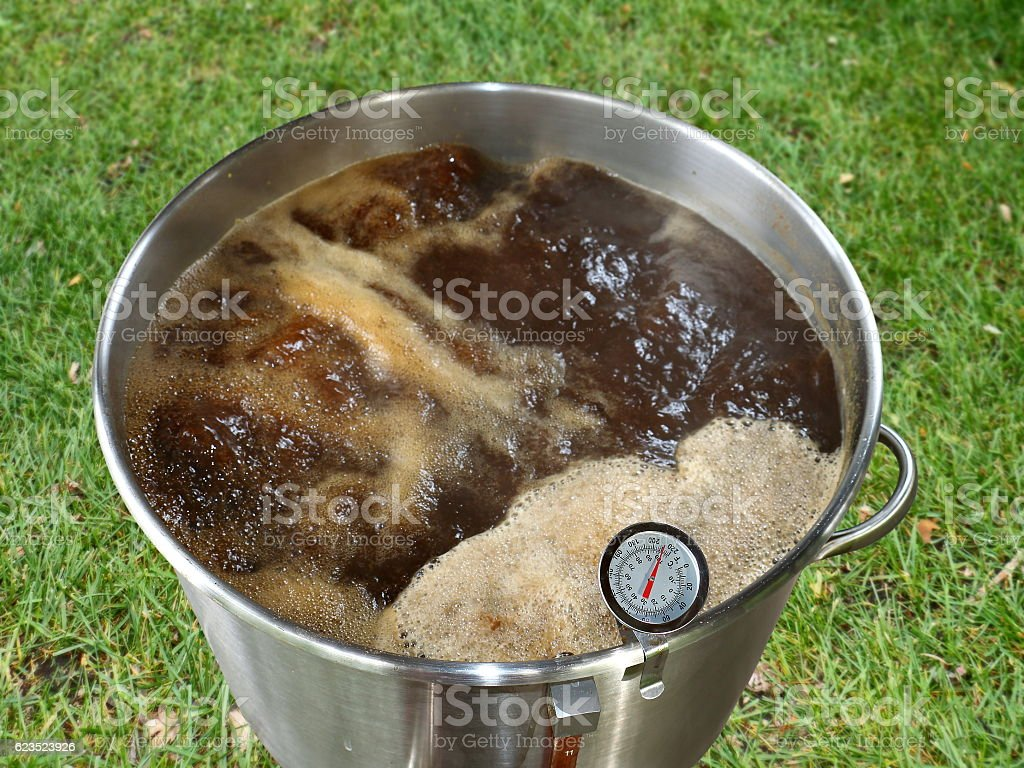 Boiling Wort Outdoors for Home Brewed Brown Ale stock photo