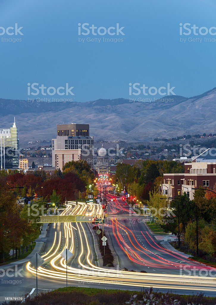 Boise city at night stock photo