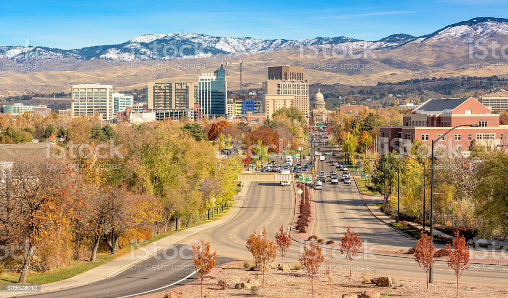 Boise City skyline in the fall stock photo