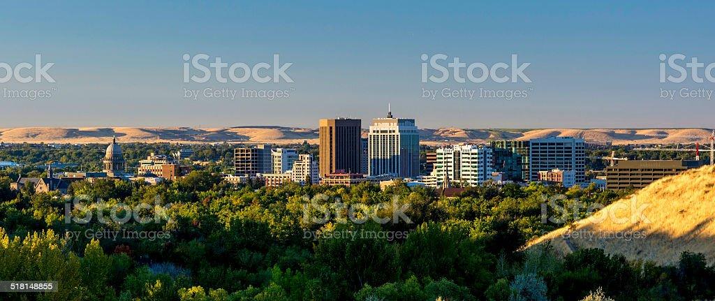Boise Idaho city of trees sunrise stock photo