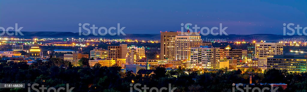 Boise Idaho with lights of an Airplan stock photo