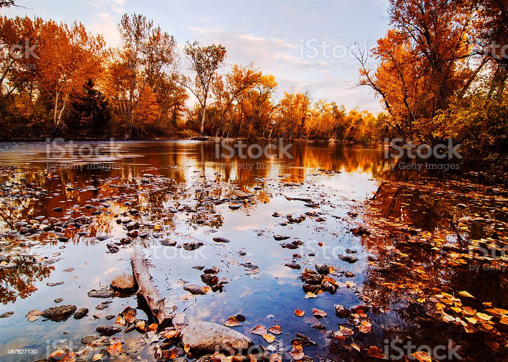 Boise River Autumn Glory Idaho stock photo