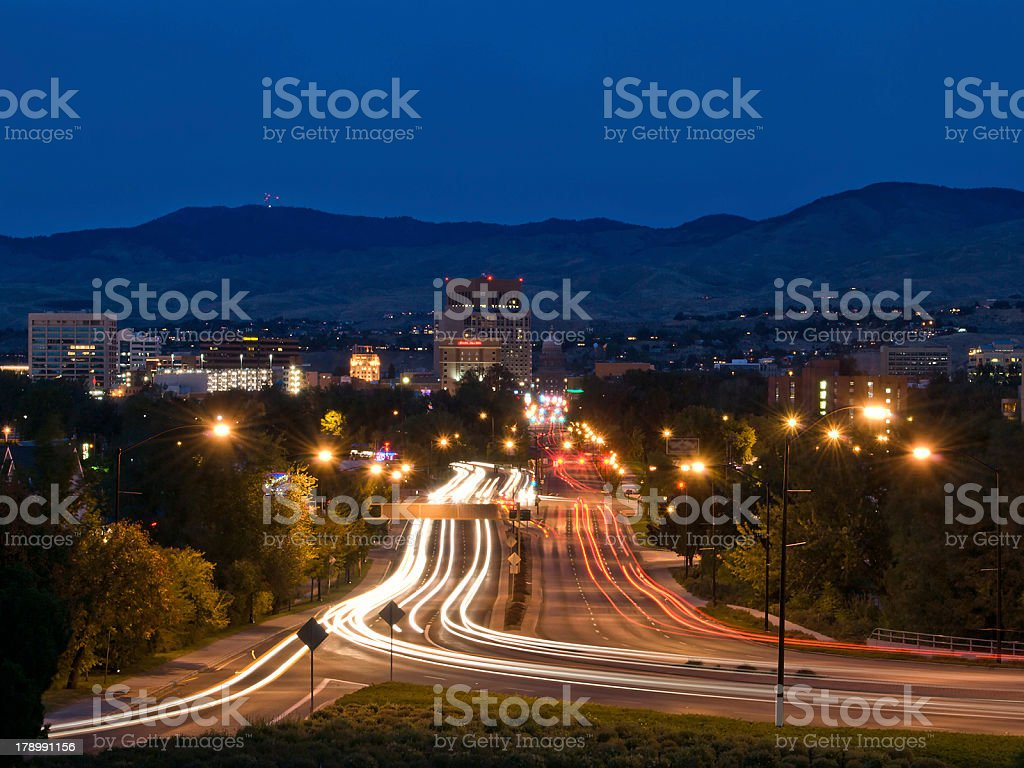 Boise skylight and traffic at night royalty-free stock photo