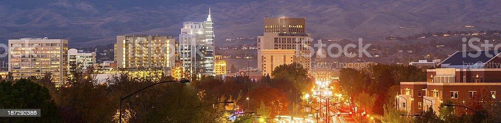 Boise skyline at night stock photo