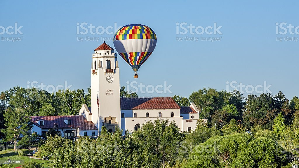 Boise train depot and a hot air balloon stock photo