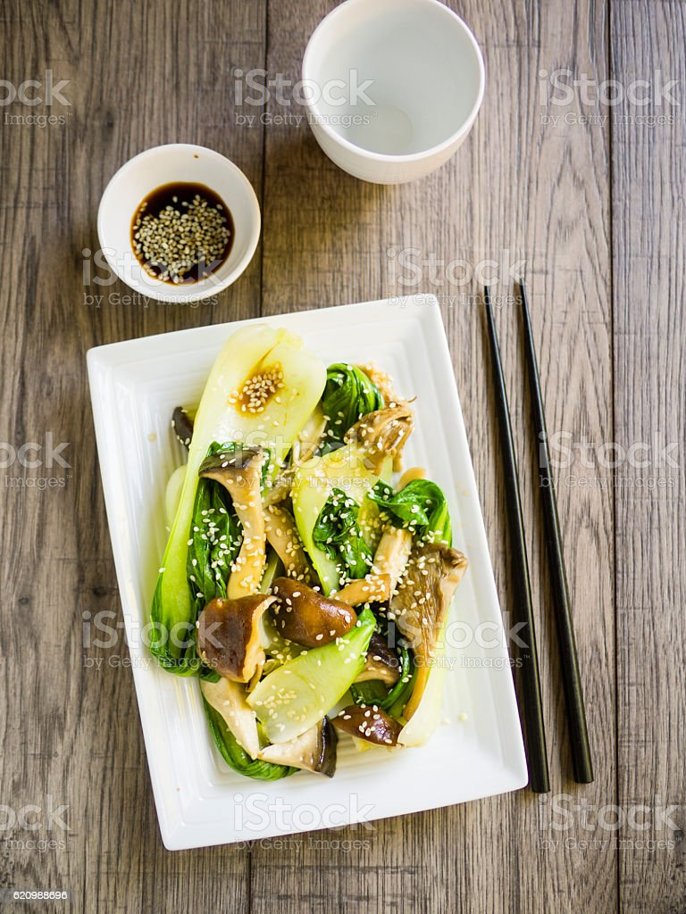 bok choy and mushroom stir-fried stock photo