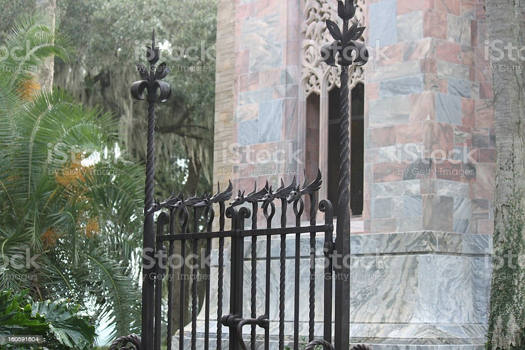 Bok Tower through the Gate stock photo