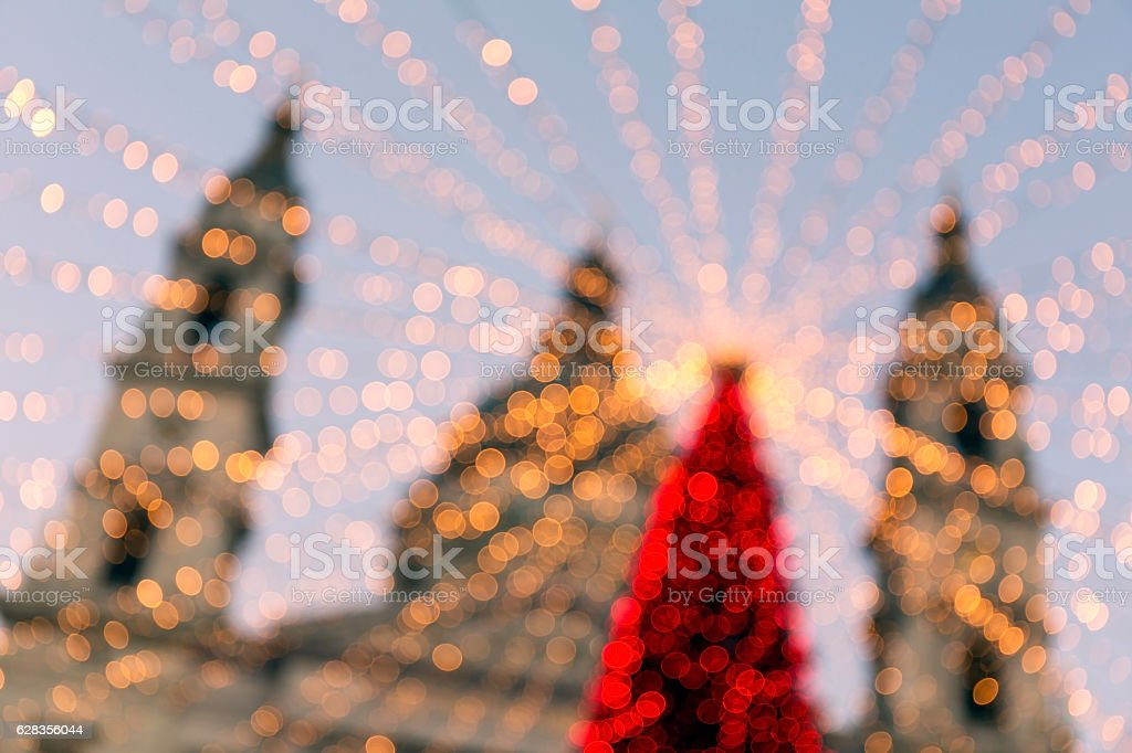 Bokeh abstract of a Christmas Tree and St Stephen's Basilica stock photo