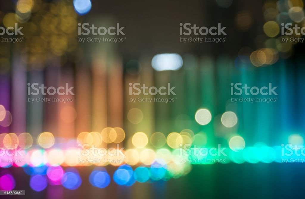 bokeh background from fountain in night life stock photo