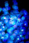 Bokeh blue Christmas light