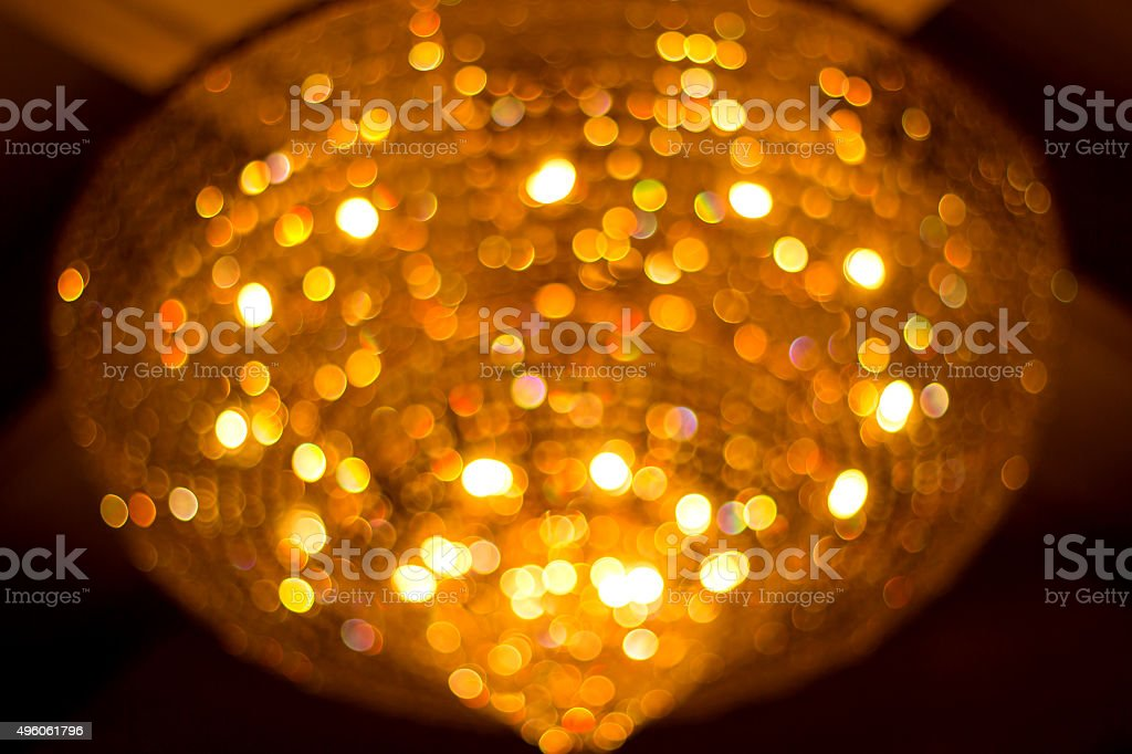 Bokeh from crystal chandelier stock photo