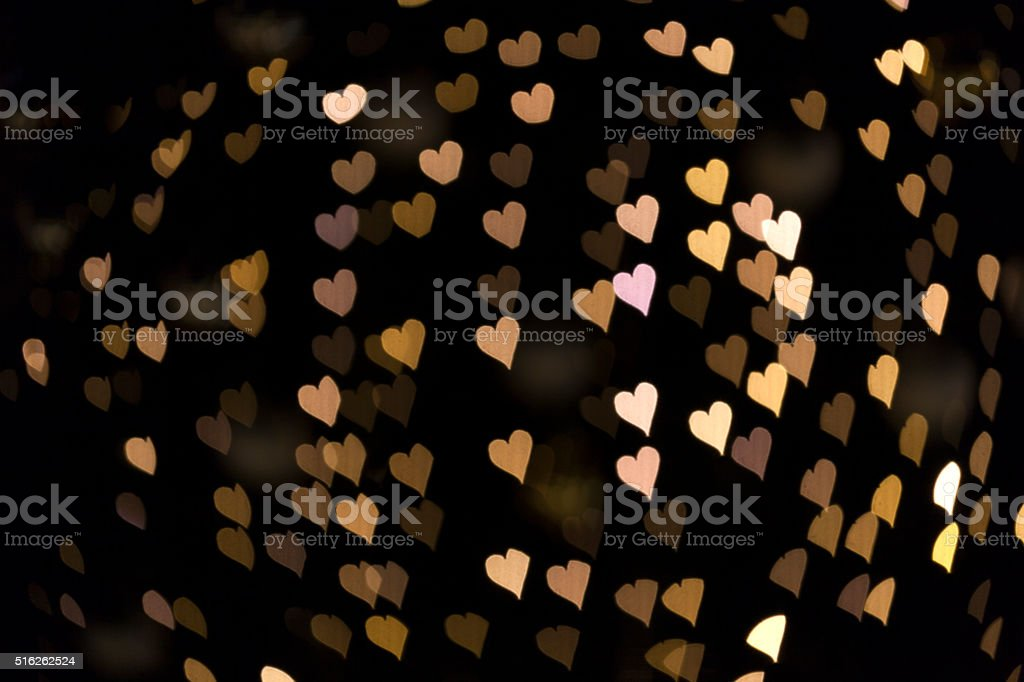 Bokeh Heart Background with Yellow Light stock photo