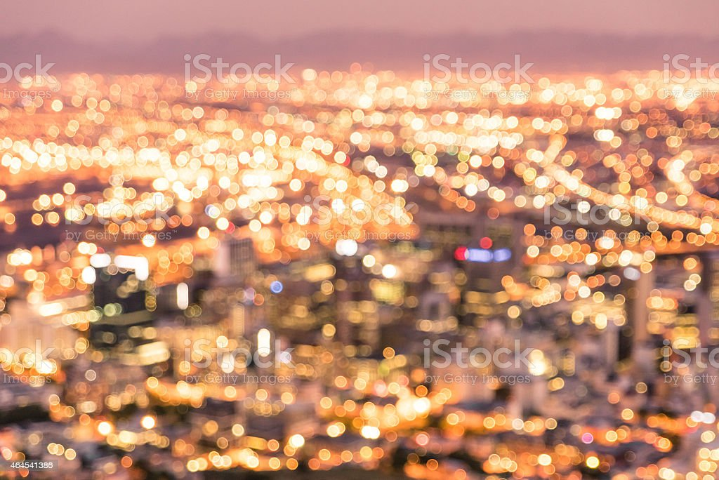 Bokeh image of Cape Town skyline at night stock photo