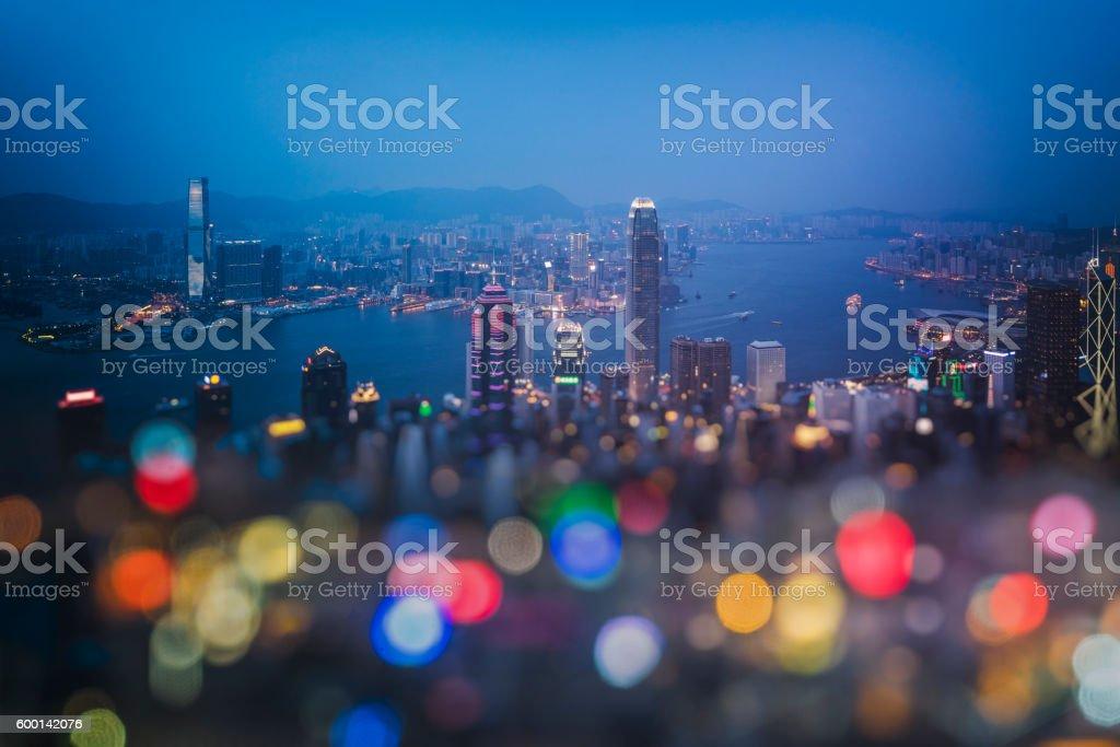 bokeh image of hong kong skyline stock photo