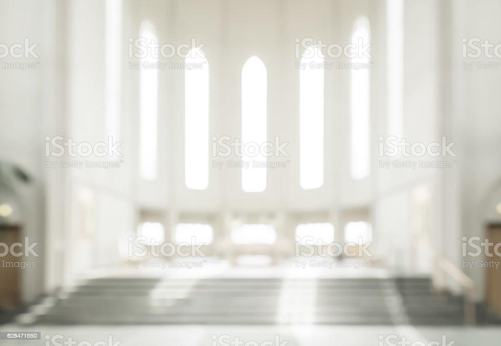 bokeh interior of modern  lutheran, christian church stock photo