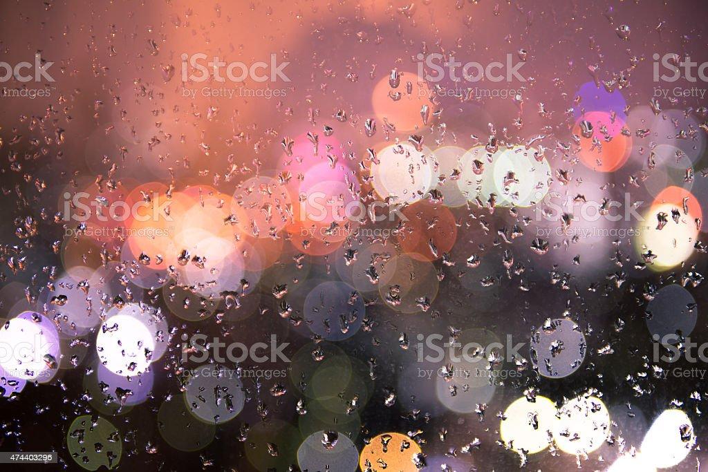 bokeh light with rain stock photo
