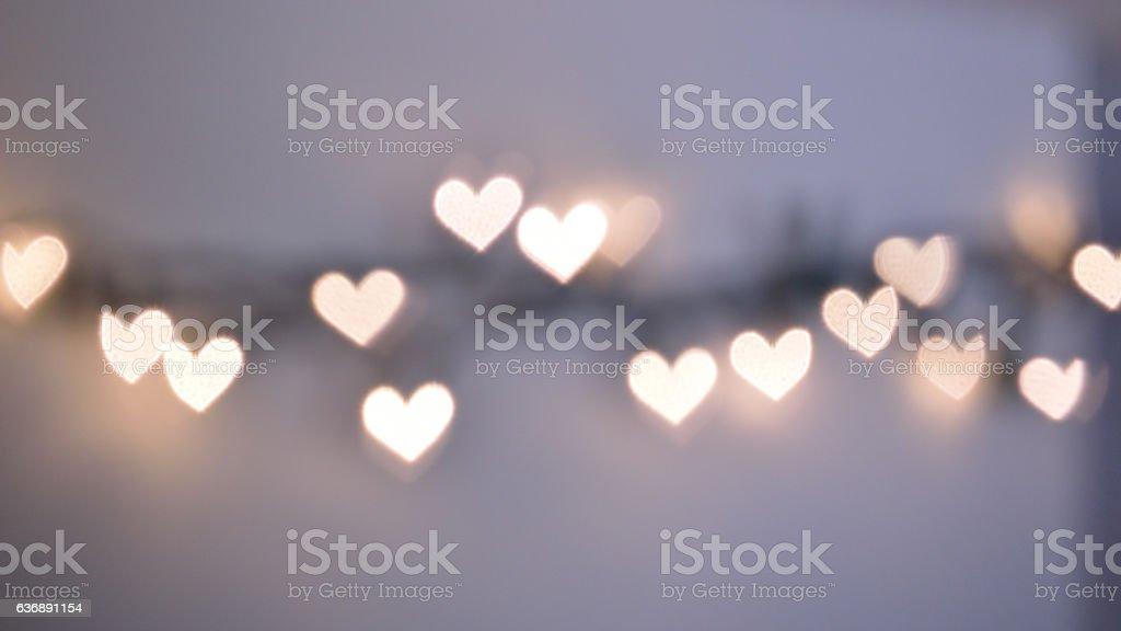 Bokeh lights, heart shapes stock photo