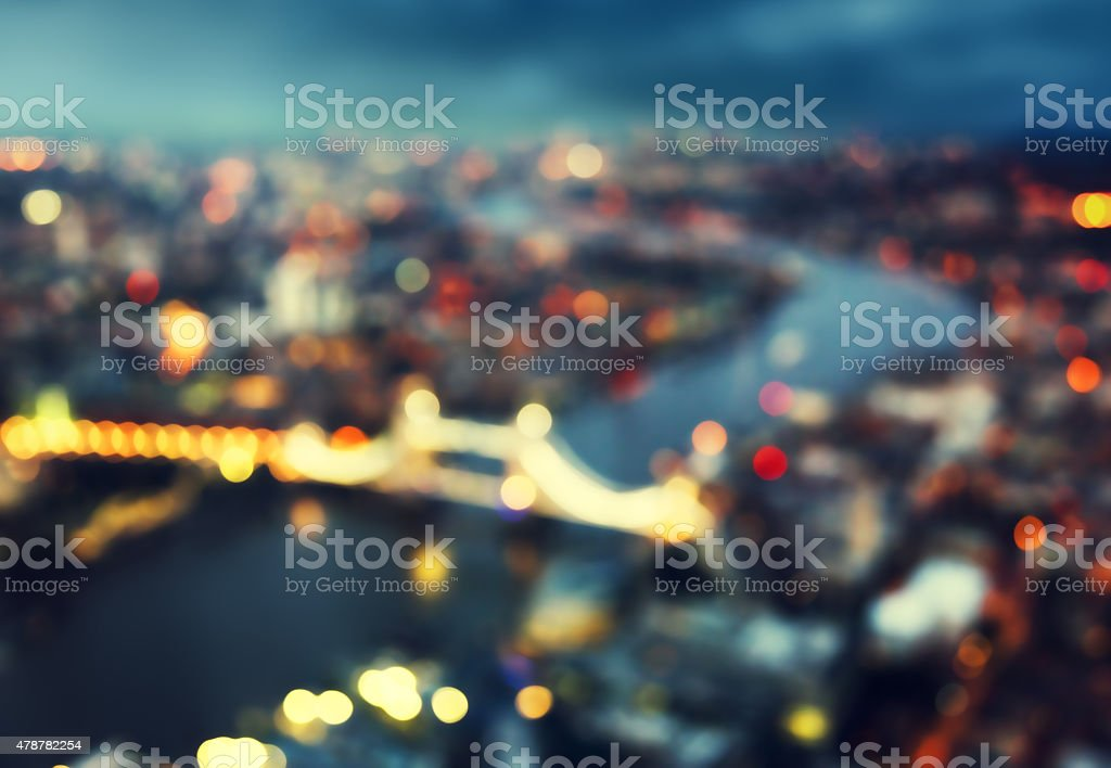 bokeh of London aerial view with Tower Bridge, UK stock photo