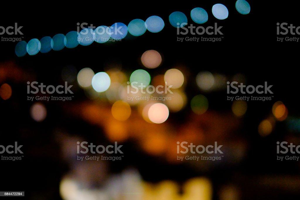 Bokeh of street lights, evening stock photo