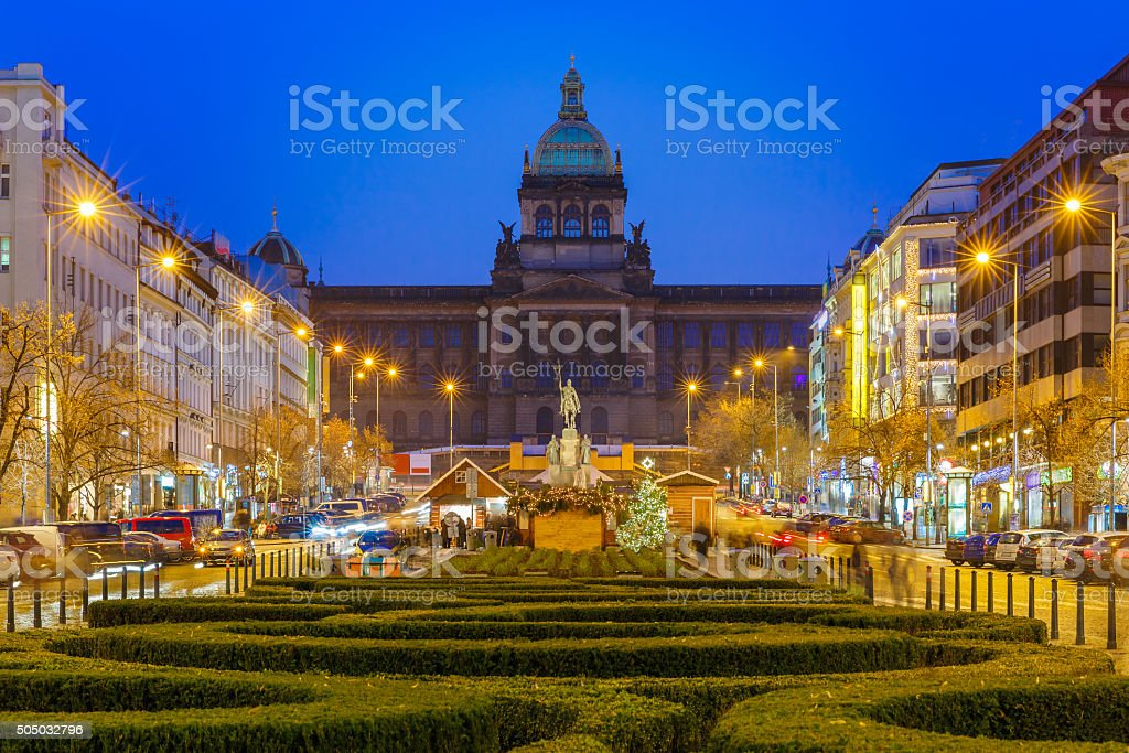 Bokeh photo of Wenceslas Square at night, Prague, Czech Republic stock photo