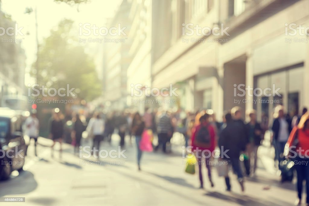 Bokeh picture of crowd in the streets of London stock photo